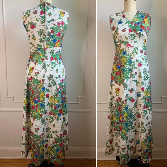 Vintage 70s Floral Printed Maxi Summer Dress - image 4