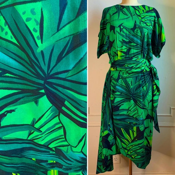 Vintage 80s Tropical Print Mock Wrap Dress