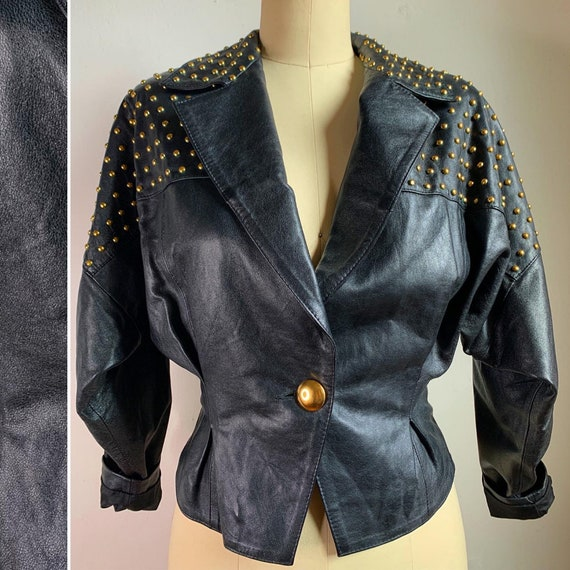Vintage 80s Black and Gold Leather Jacket