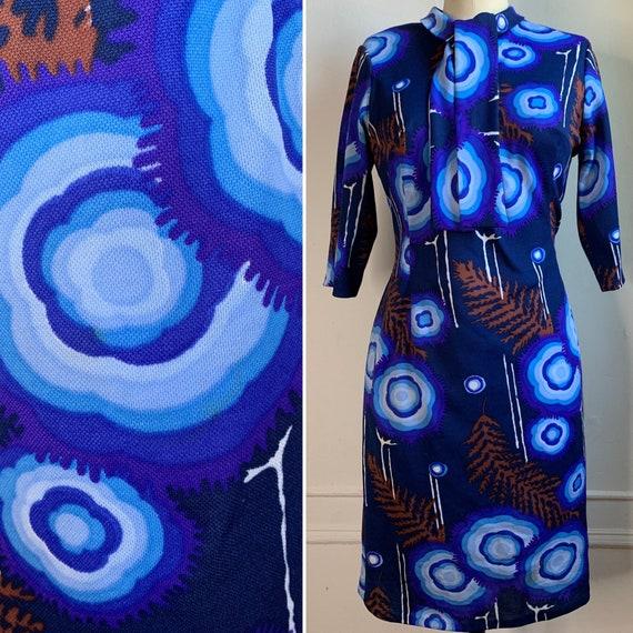 Vintage 70s Blue Printed Mini Shift Dress