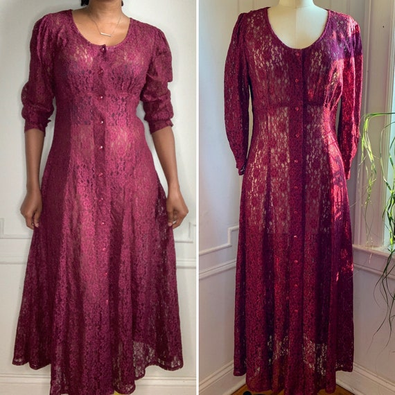 Vintage 90s Grunge Burgundy Floral Lace Midi Dress