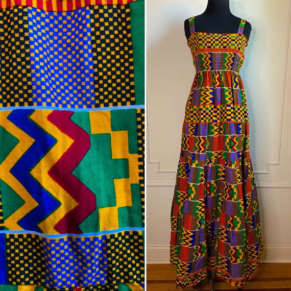 Vintage Handmade Ankara Tiered Maxi Dress