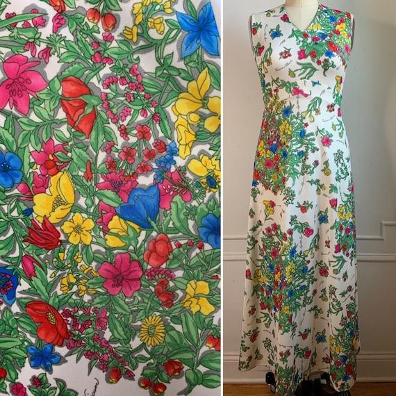Vintage 70s Floral Printed Maxi Summer Dress - image 1