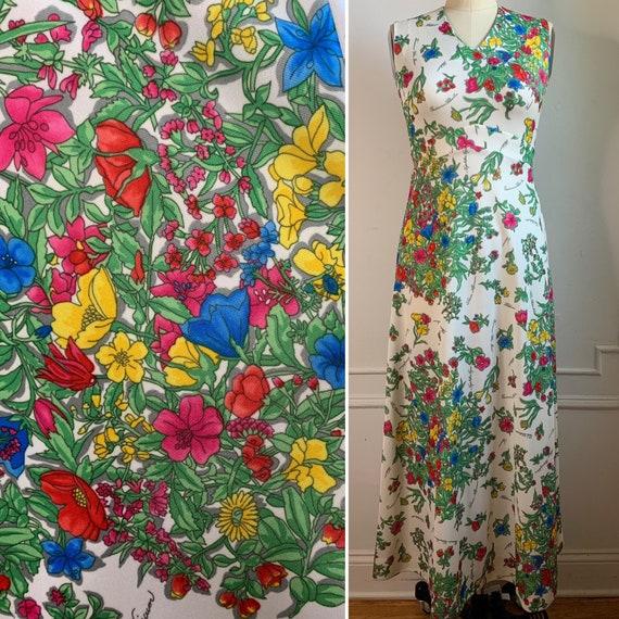 Vintage 70s Floral Printed Maxi Summer Dress