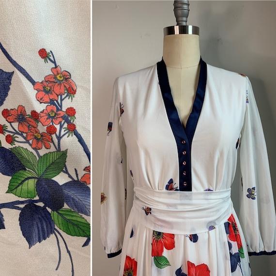 Vintage Summer Floral Midi Dress - image 5