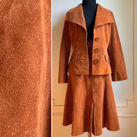 Vintage 70s Brown Suede Pleated Skirt Suit