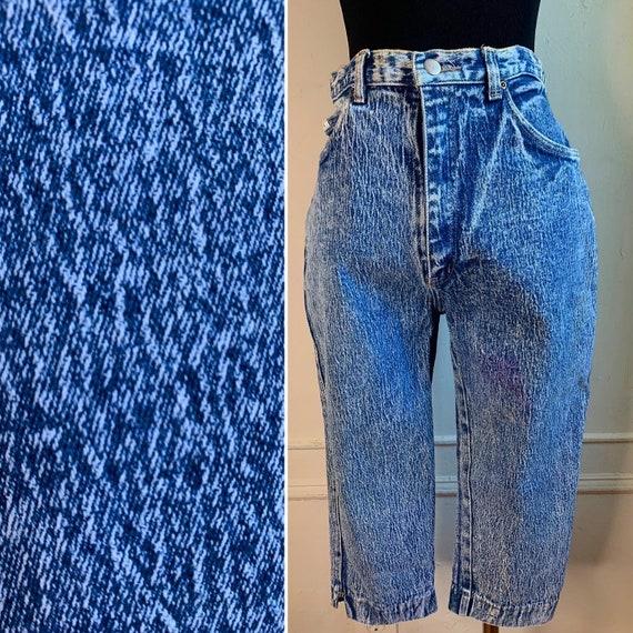Vintage Acid Wash Capri Denim Jeans