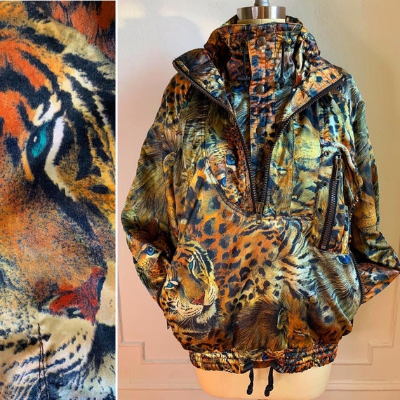 Vintage Kittens and Tigers Pullover Winbreaker