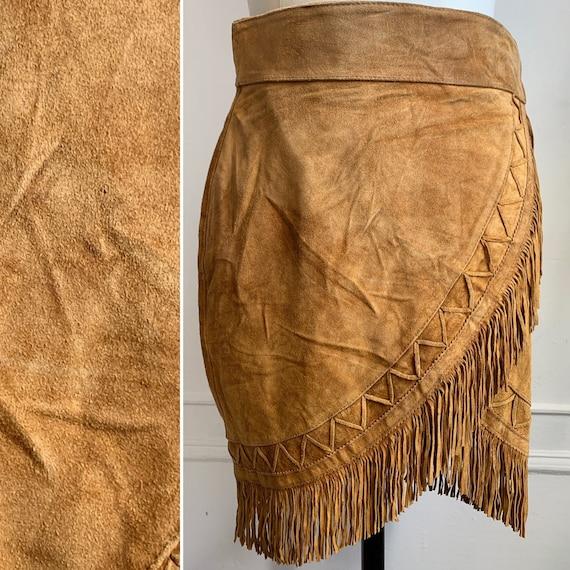 Vintage Brown Suede Fringe Wrap Skirt