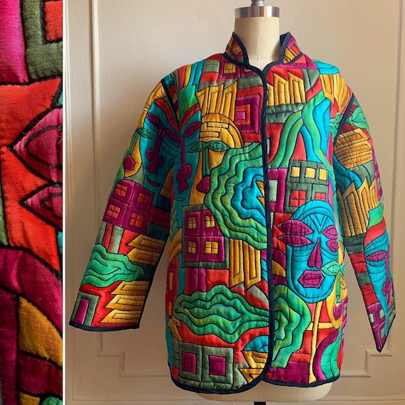 Vintage Multicolor 100%  Silk Mandarin Collar Jack