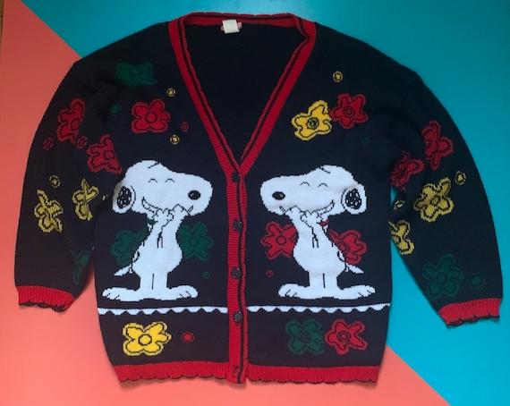Vintage Snoopy Peanuts Cardigan Sweater