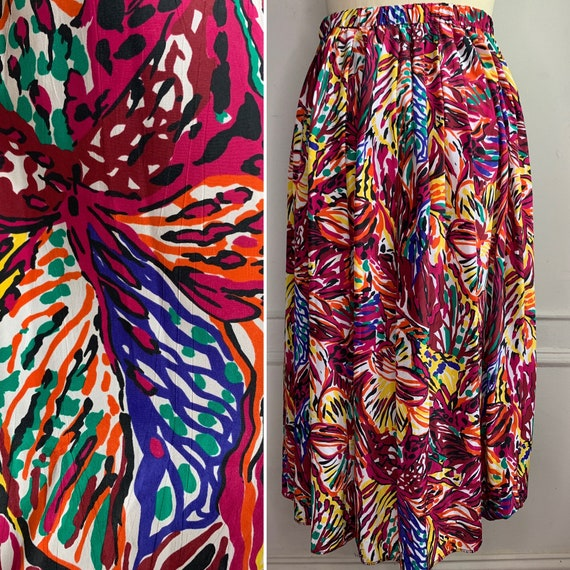 Vintage Abstract Floral Midi Skirt
