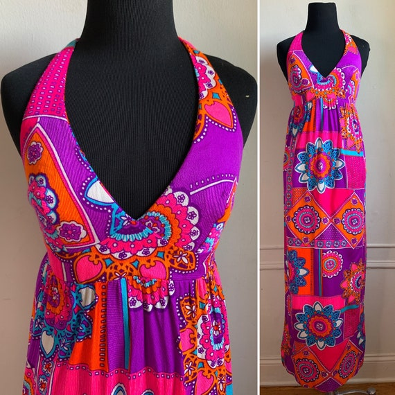 Vintage Multicolored Halter Top Maxi Dress