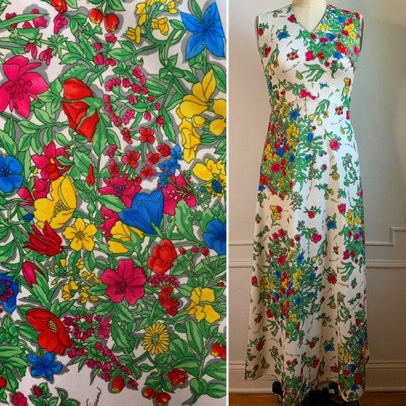 Vintage 70s Floral Printed Maxi Summer Dress - image 5