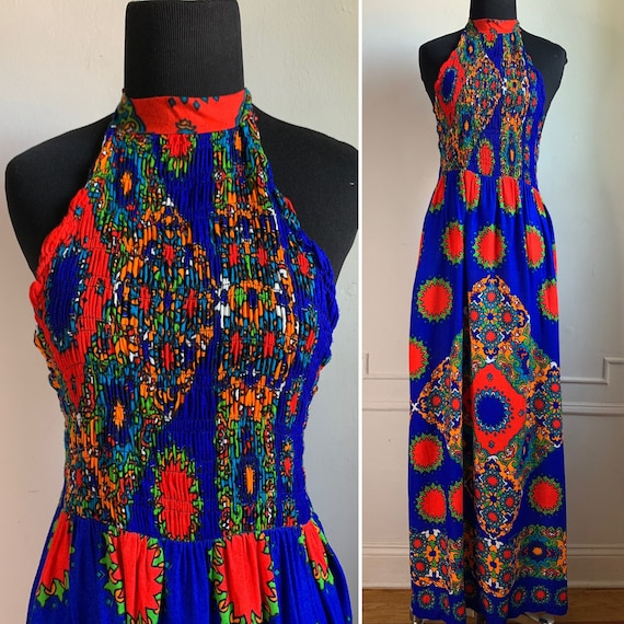 Vintage 70s Multicolor Halter Top Maxi Dress