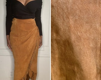 NWT DEAD STOCK!! Vintage Brown Suede Fringe Wrap Skirt