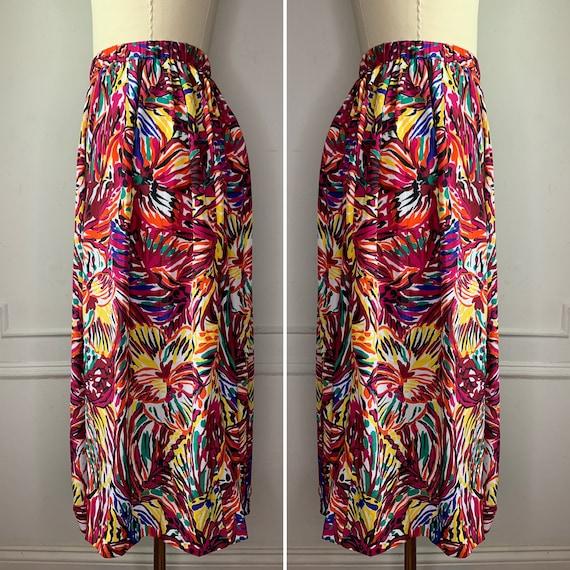 Vintage Abstract Floral Midi Skirt - image 3