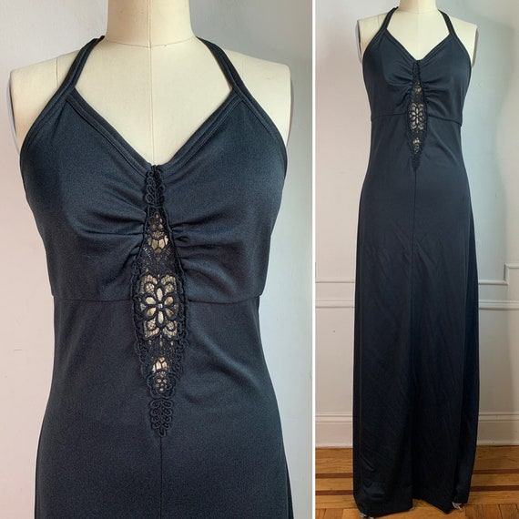Vintage 70s Black Halter Top Maxi Dress