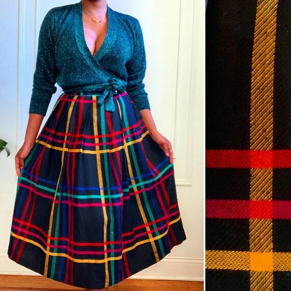 Vintage Multicolor Stripe Midi Skirt