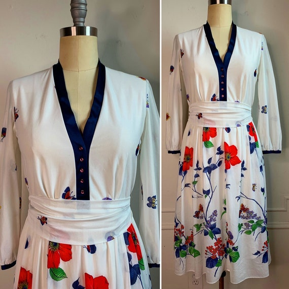 Vintage Summer Floral Midi Dress - image 2