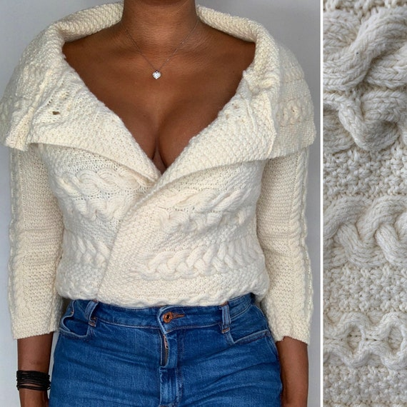 Vintage Cream Merino Wool Cable Knit Cardigan