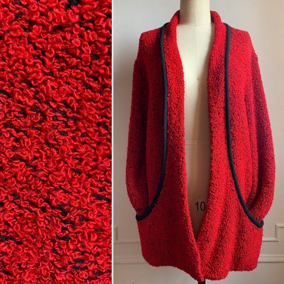 Vintage Red and Black Shawl Collar Cardigan Sweate