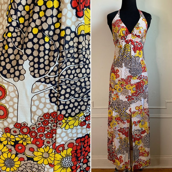 Vintage Multicolor Halter Top Maxi Dress