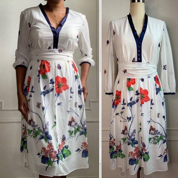 Vintage Summer Floral Midi Dress - image 1