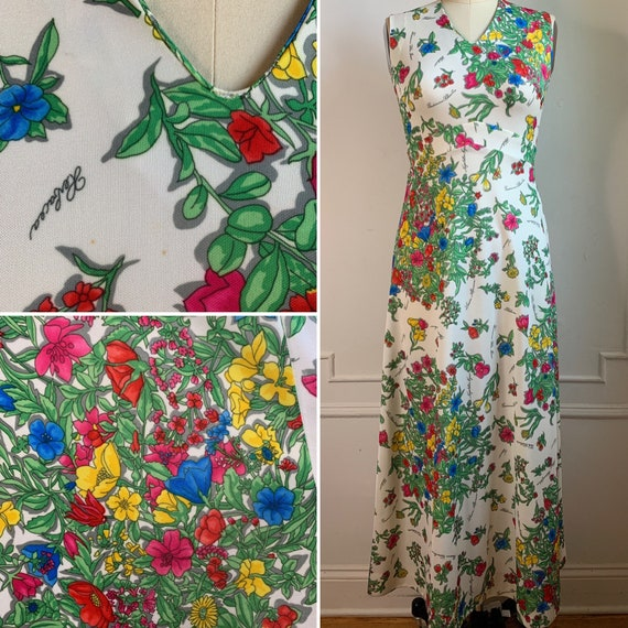 Vintage 70s Floral Printed Maxi Summer Dress - image 6