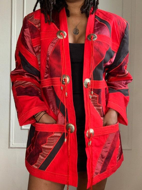 Vintage Red Patchwork Kimono Jacket - image 4