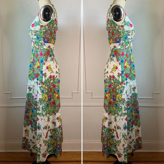 Vintage 70s Floral Printed Maxi Summer Dress - image 3