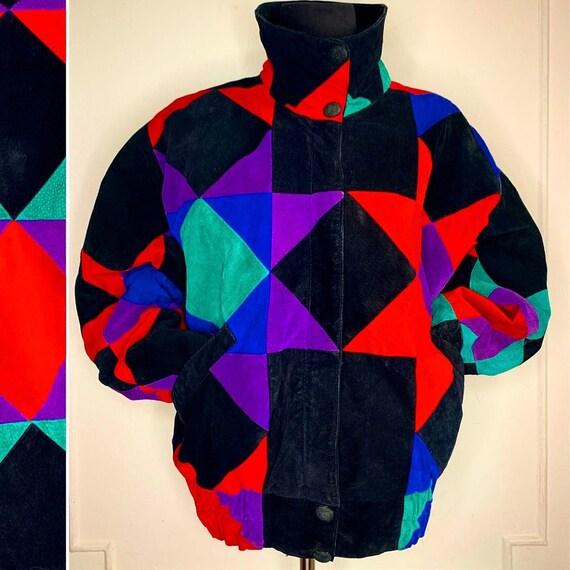 Vintage Patchwork Suede Multicolor Jacket