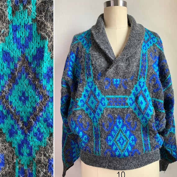 Vintage 80s Shawl Collar Sweater