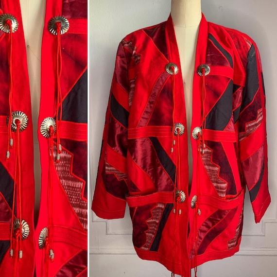 Vintage Red Patchwork Kimono Jacket - image 2