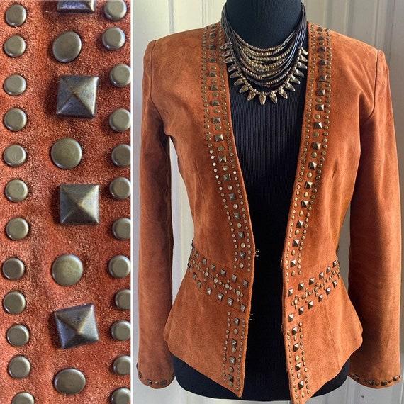 Vintage Brown Suede Embellished Blazer Jacket