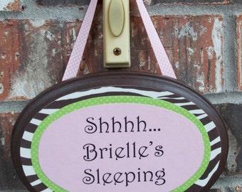 Baby Sleeping Door Sign, Light Pink or Bright Pink Zebra