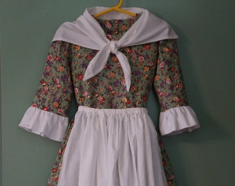 73cf2fc7a49e Ready To Ship Girls' Colonial Dress, Green Floral | Sizes 8-14 | Colonial  Williamsburg | Formal | American Revolution | Historical