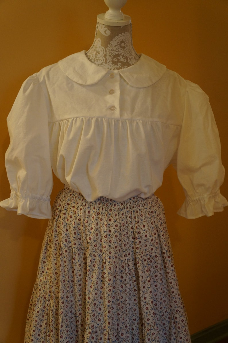 Victorian Blouses, Tops, Shirts, Sweaters Ladies Yoked Blouse w/Simple Neckline Custom Order | Modest Clothing | Modest Blouse | White | Yoked blouse | Peasant Blouse | Boho Top $50.97 AT vintagedancer.com