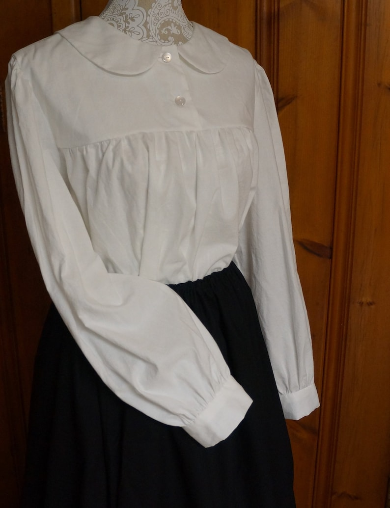 Victorian Blouses, Tops, Shirts, Sweaters Ladies Collared Yoked Blouse Long Sleeve - Custom Order|Modest Clothing|Modest|White|Yoked|Peasant|Victorian|Edwardian|Anne of Green Gables $54.97 AT vintagedancer.com