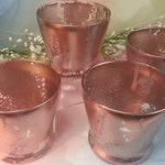 4 Tapered Vase or Votive Candle Holder for Weddings / Event / Gold / Rose Gold Mercury Glass Painted / Centerpiece 4 per order