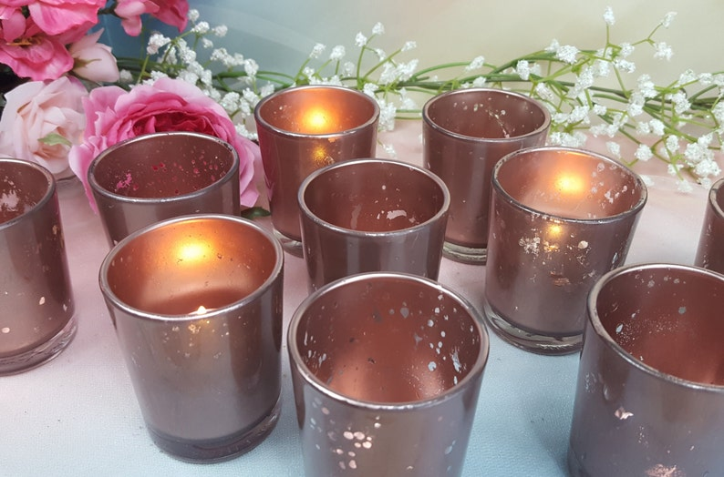 15 Rose Gold Mercury Glass Wedding Votive Candle Holders or image 0