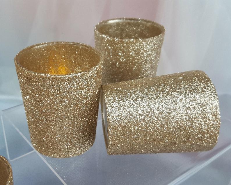 10 Light Gold Glitter Votive Candle Holders Weddings  Glitter image 0