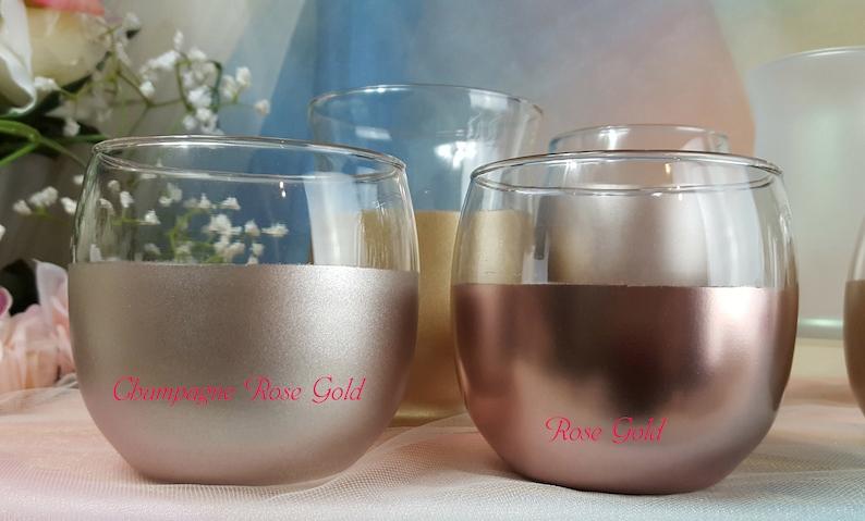 2 per/ Glass Large Round Votive Holders Vase of Gold Rose image 0