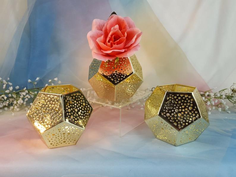 2 per Geometric Votive Holder Metal / Gold / Rose Gold / image 0