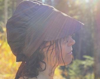 Brown Linen Wrap Bonnet Sun Hat