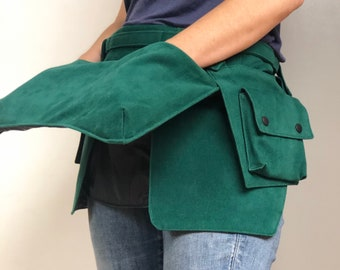 Panelled Apron Tool Belt in Emerald Green
