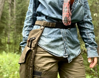 Olive Water Resistant Leg Bag with Leg Strap and Custom fit Belt