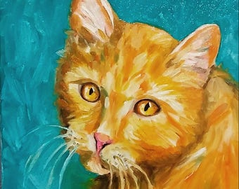 Original oil painting yellow tabby cat, kitty art 12x12
