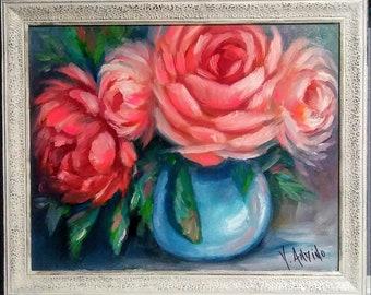 Stampa ORIGINALE dipinto ad olio arte vaso fiori Impressionismo SHABBY CHIC COUNTRY