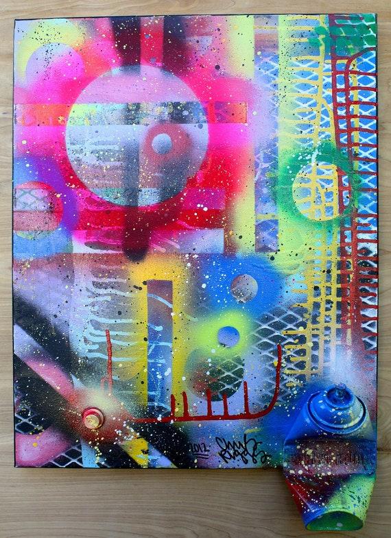 ORIGINAL abstract contemporary pop art fine art spray ...